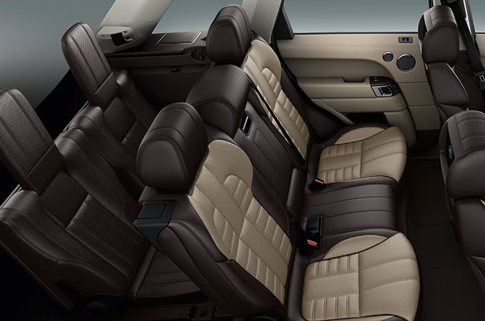 Range Rover Sport's Espresso Almond coloured interior seats.