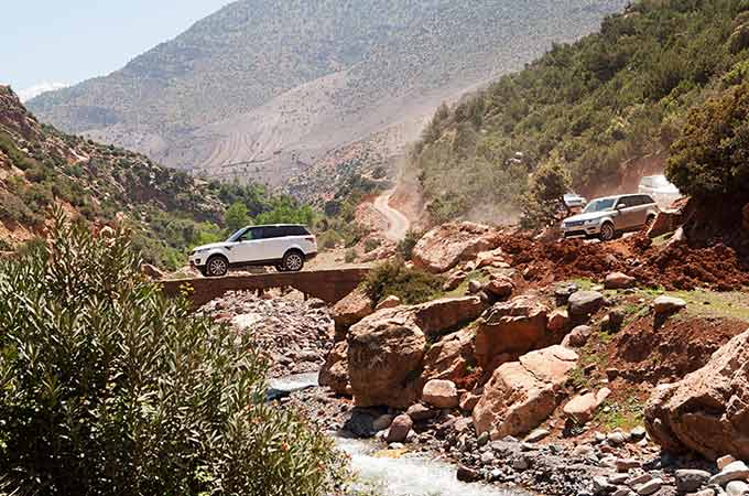 Off-road driving in the Atlas Mountains in a Land Rover Discovery vehicle