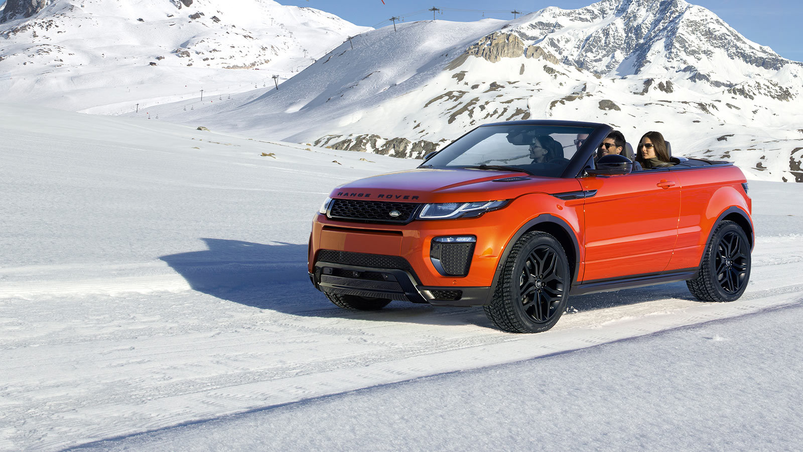 Evoque Convertible driving safely in the snow.