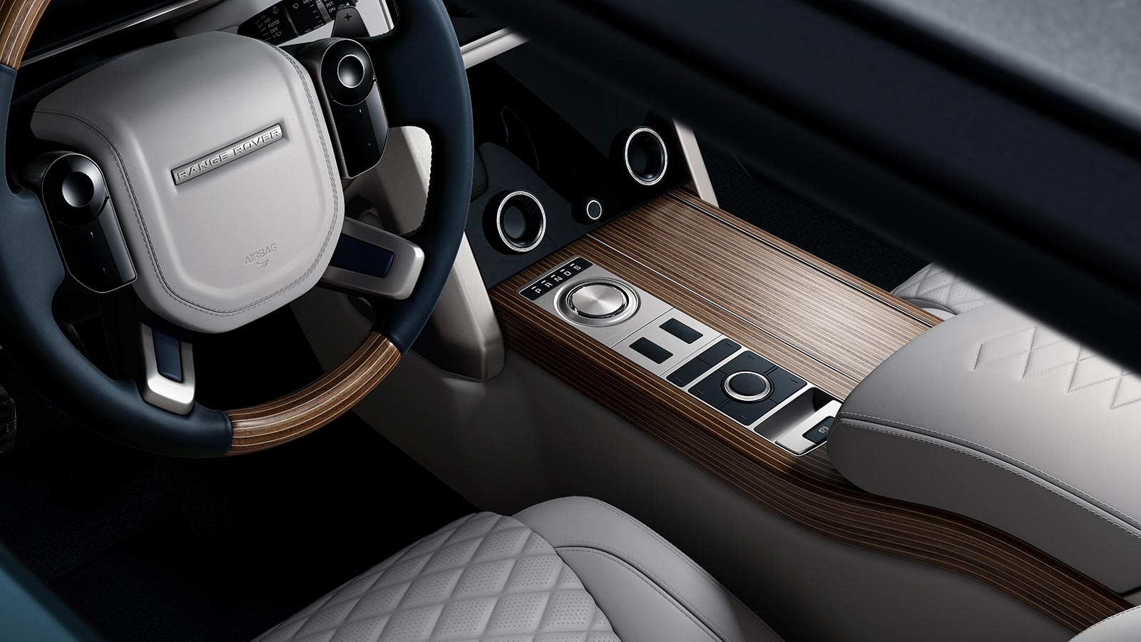 The Range Rover SV Coupé steering wheel with interior Nautica Veneer