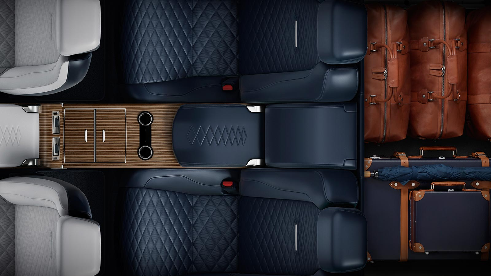 The Range Rover SV Coupe in Eclipse overhead with versatile luggage loadspace