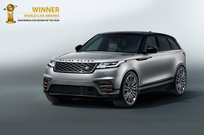 De Range Rover Velar is verkozen tot de mooiste auto ter wereld en wint de prijs World Car Design of the Year tijdens de World Car Awards 2018