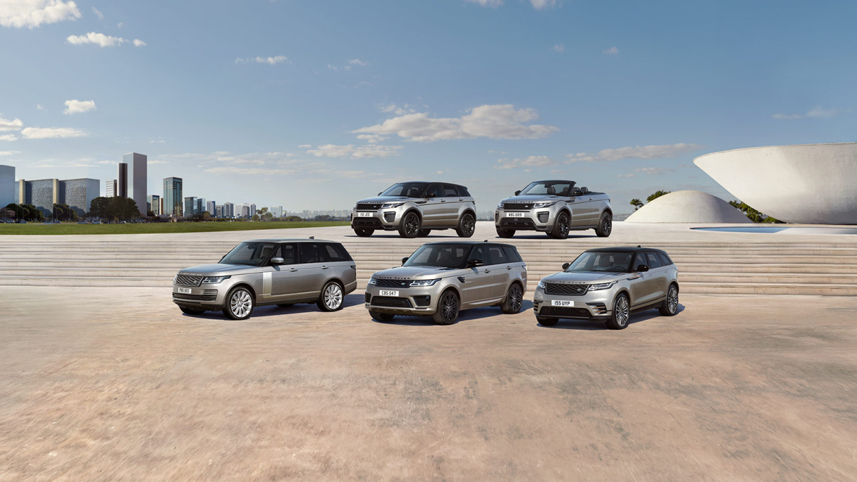 Corporate vehicles: the full range of Land Rover SUVs.