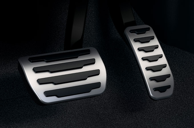 New Range Rover Evoque bright metal pedals.