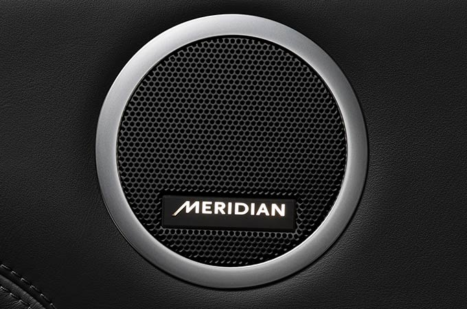 Land Rover Discovery Commercial SUV Off-Road Vehicle's Meridian Sound speaker.