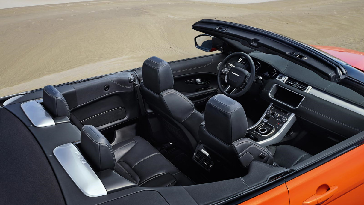 Compact SUV - the sophisticated interior of the Evoque Convertible.