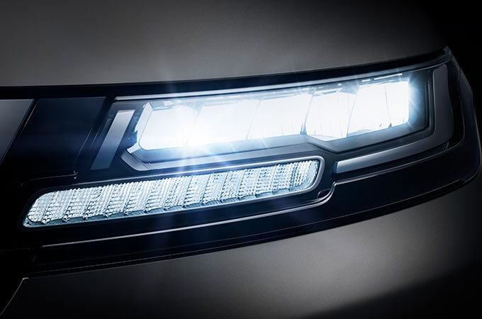 New Range Rover Evoque LED headlights.