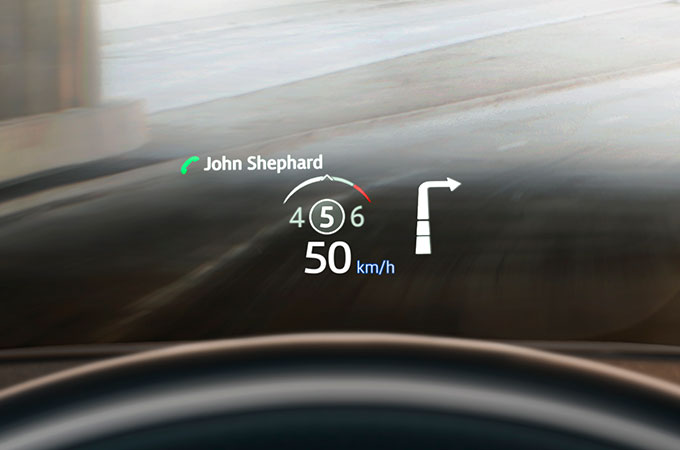 New Range Rover Evoque with Head-Up Display on windscreen.