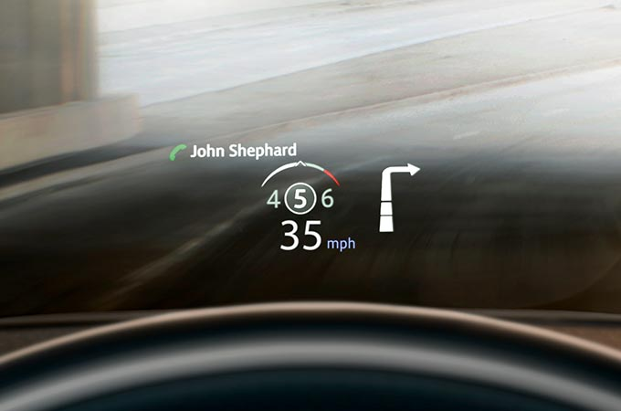 Range Rover Evoque with Head-Up Display on Windscreen