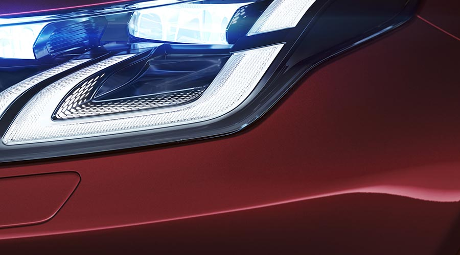 Close up of Discovery Sport R-Dynamic Headlights.