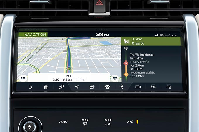 Navigation system displayed on touchscreen.