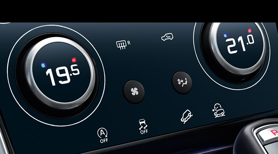 Close Up of Discovery Sport Temperature Dials.