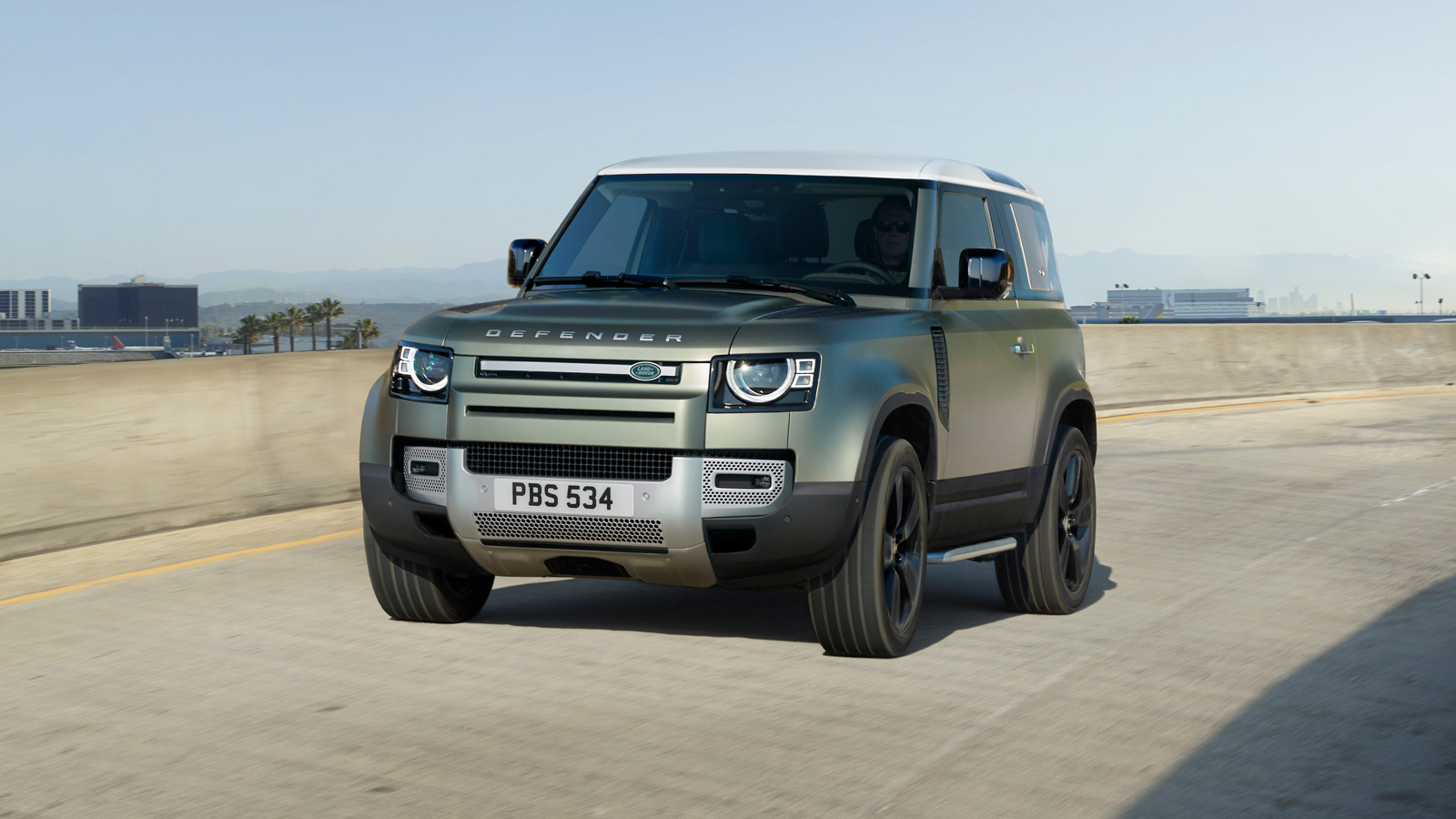 Front three quarter shot of New Land Rover Defender